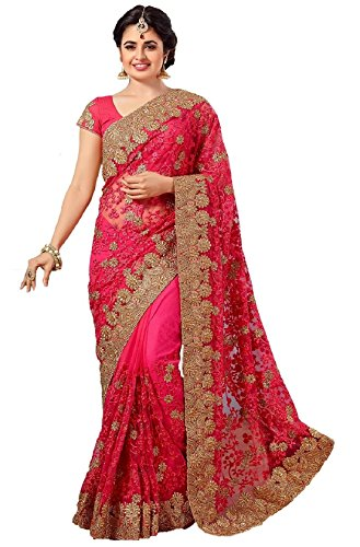 Nivah Fashion Women's Full 'Net' Havy Embroidery Work Saree (Pink_K598AZ)