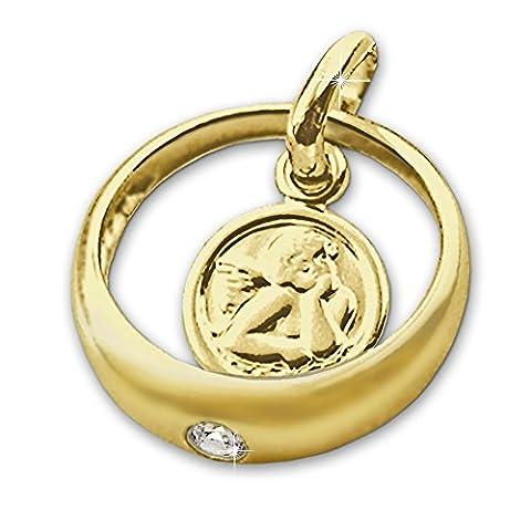 CLEVER SCHMUCK Goldener Taufring mit Engel rund und Zirkonia weiß