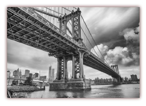 XXL Poster 100 x 70cm (F-222) Manhattan Bridge New York City Hängebrücke über den East River (Lieferung gerollt!) -