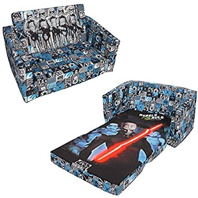 Disney Star Wars Rebel Childrens Kids Flip Out Double Foam Sofa Settee Lounger Bed Seat