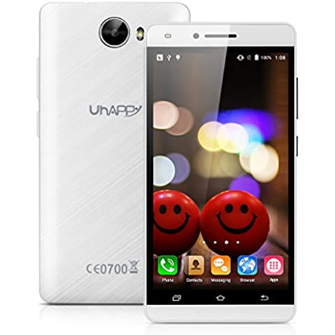 Uhappy V5 Smartphone 3G 5.0'' IPS QHD Android 5.1 MTK6580 Quad Core 1.3GHz 1GB RAM 8GB ROM Cellulare Dual SIM GPS WIFI Bianco