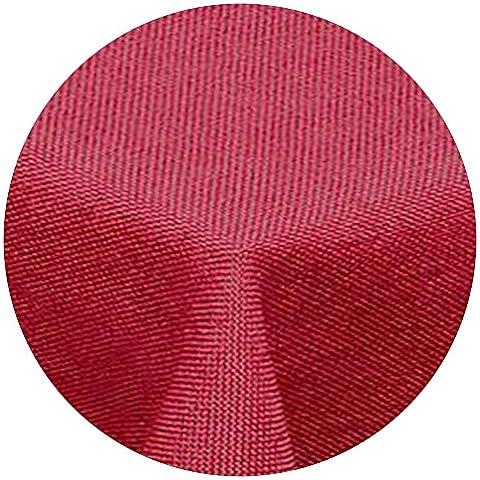 AMP de artshop© aspecto de lino mantel redondo con efecto lotus de 220cm rojo