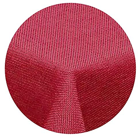 amp -artshop Leinen Optik Tischdecke Rund 140 cm Rot - Farbe , Form & Größe wählbar mit Lotus