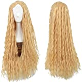 Xcoser Halloween Beautiful Lady Girls Cosplay Costume Perruque Long Curly Yellow Cheveux accessoires