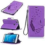 Chreey Coque Huawei P9 Lite / P9 mini (5.2 pouces) (Solid color - Plume - Avaler),PU Cuir Portefeuille Etui Housse Case Cover ,carte de crédit pour , serrures magnétiques, support pliable, idéal pour protéger votre téléphone
