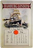 Blechschild geprägt Kalender Schiff Hamburg-London mit Markierungsmagnet 20 x 30 cm Reklame Retro Blech 490