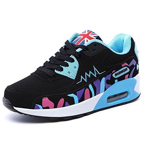 PADGENE Turnschuhe Damen Sportschuhe schockabsorbierende Straßenlaufschuhe neue Schuhe für Mädchen [2016 Neue Version] Blau