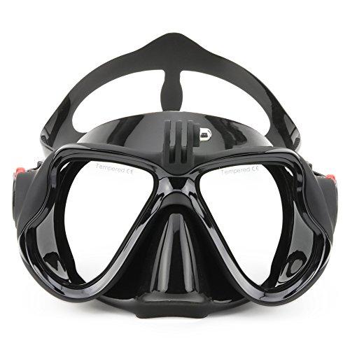VILISUN Masque de Plongée en Silicone Imperméable avec la Monture de Caméra pour GoPro, Verre Trempé, Antibuée et Anti-fuite (Adultes) (V-Noir)