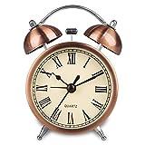 Hense lancetta comodino sveglia a doppia campana night-light forte sveglie a batteria con brillante color rame HA41... Polished copper with 3' Roman numeral
