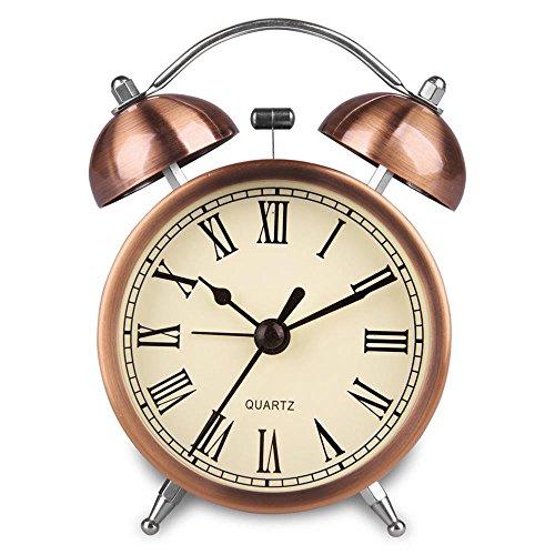 Hense geräuschlose Weckuhr für den Nachttisch Von Batterie angetrieben Nacht-Licht. Lauter Alarm Uhren in Farbe von hellem Kupfer Kein Ticken Zifferblatt von verschiedenen...