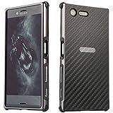 Carbon Fiber + Aluminium Bump Hülle Bumper Cover Schutz Tasche Schale Hardcase für Sony Xperia X Compact Schwarz