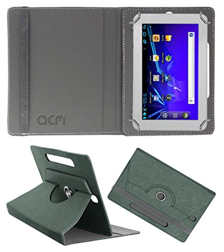 Acm Designer Rotating Leather Flip Case for Ambrane A-707 Cover Stand Grey  available at amazon for Rs.169