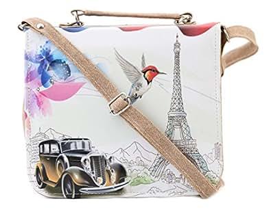 Felicita Women's Sling & Cross-Body Bag (SB00024CARBG,White)