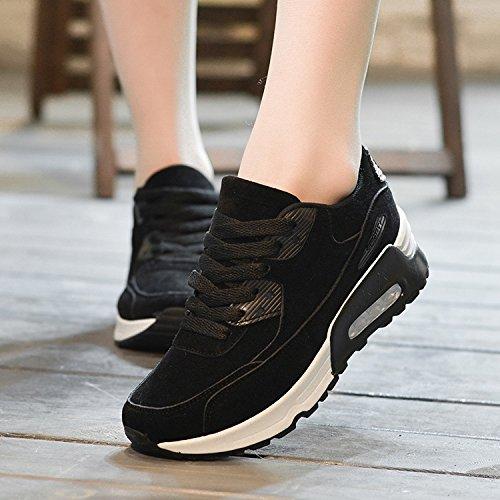Padgene Baskets Mode Femme Chaussures Course Fitness Sports Jogging Lacet Gym Noir