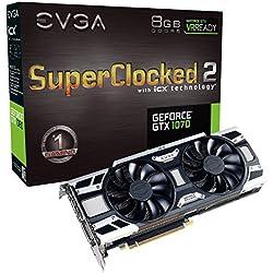 EVGA GeForce GTX 1070 SC2 GAMING, 8GB GDDR5, iCX Technology - 9 Capteur thermiques& RGB LED G/P/M, Ventilateur asynchrone, Conception de flux d'air optimisé Carte Graphique 08G-P4-6573-KR