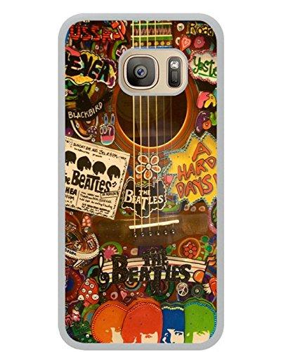 Generic S7Carcasa de TPU, The Beatles Hippie Guitarra Color Blanco Funda de piel con tapa para Samsung Galaxy S7