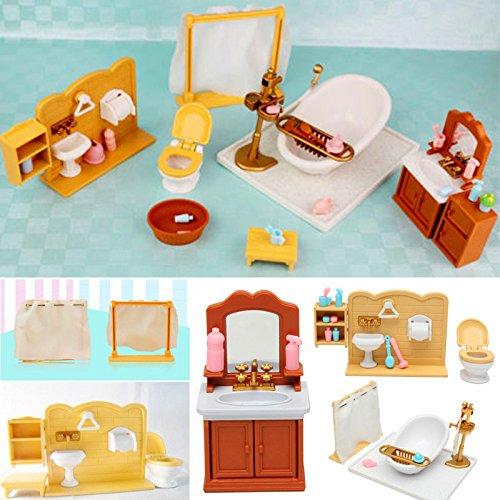 LaDicha DIY Miniaturas Dormitorio Baño Muebles Juegos para Sylvanian Familia Dollhouse Accesorios Juguetes Regalo