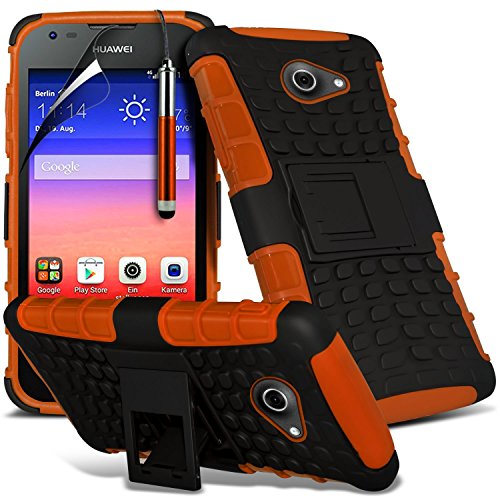 Orange - Huawei Ascend Y550 Zweischichtige starke, stoßfeste Hülle in Superqualität mit Bildschirmschutz & versenkbarem Eingabestift (stoßfest – Hülle – hart – Schutz – robust) von Gadget Giant®