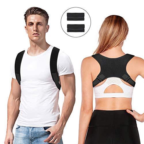 Nasharia Geradehalter zur Haltungskorrektur Rückenstütze Rückenbandage Haltungstrainer Haltungskorrektur Rücken Damen und Herren-Größenverstellbar(mit 2 Schulterpolster, Senden Sie Knieschoner)