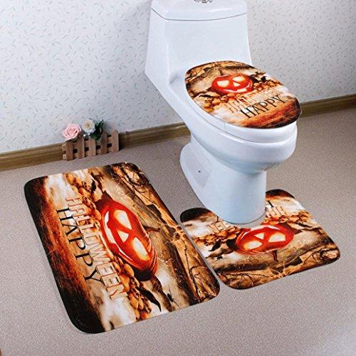 artistic9(TM) 3/Set Halloween Badezimmer mehrere Stil Ständer Teppich + Deckel WC-Deckelbezug + Badteppich, a, 50x80cm (Sets Halloween-badezimmer)