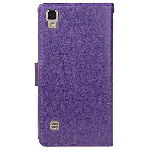 Für LG X Power Case Cover, Lucky Clover geprägte Blume PU Ledertasche mit seitlichen Schnalle Wallet Case mit Lanyard & Halter & Card Slots ( Color : Rose ) Purple