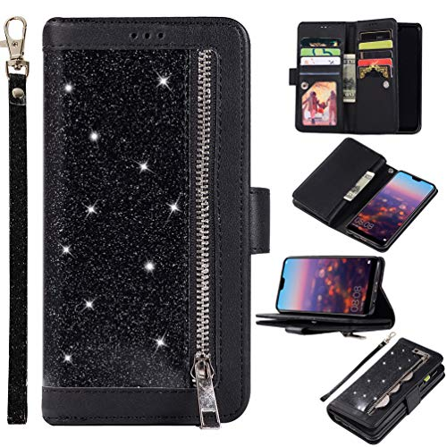 Edauto Handyhülle Kompatibel mit Huawei P20 Lite Hülle Glitter Diamant Flip Case Tasche Magnetisch Handytasche Kartenfächer Ständer Schutzhülle Reißverschlusstasche Handyschale Schwarz (Schwarz Geldbörse Glitter)
