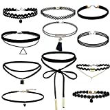 Kingko® Women's Tdy Black Lace Choker Necklace Set Stretch Classic Gothic Tattoo Retro Jewelry (11 PCS)