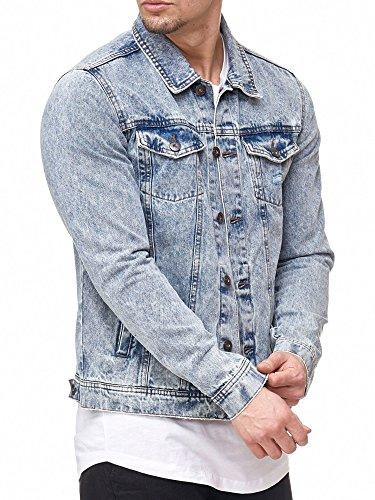Indicode Herren Bryne Jeansjacke Denim Übergangsjacke mit Stehkragen aus hochwertiger Baumwollmischung Washed-Out Stretch Denim Blue M Washed Denim-jacke