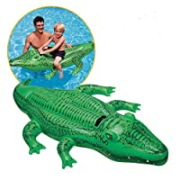 Yeldou Childrens Large Inflatable Ride On Alligator With One Grab Handles, Inflatable Crocodile Float for Children