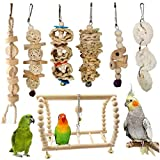 RYcoexs7Pcs Pet Bird Parrot Wood Ball Bell Rope Bead Hanging Ladder Swing Cage Chew Toy - Wood Color 7pcs