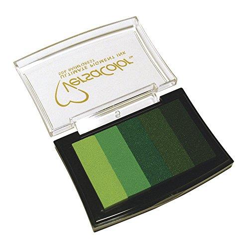 RAYHER 2839729, Stempelkissen Versacolor, 5 Farben, Stempelfläche 4,7 x 7,5 cm, grün Töne