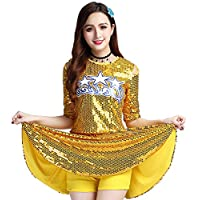 4f4637b8305b Daytwork Cheerleading Modern Dance Costume Women - Ladies Sequins Jazz Top  Skirt Set High School Uniforms