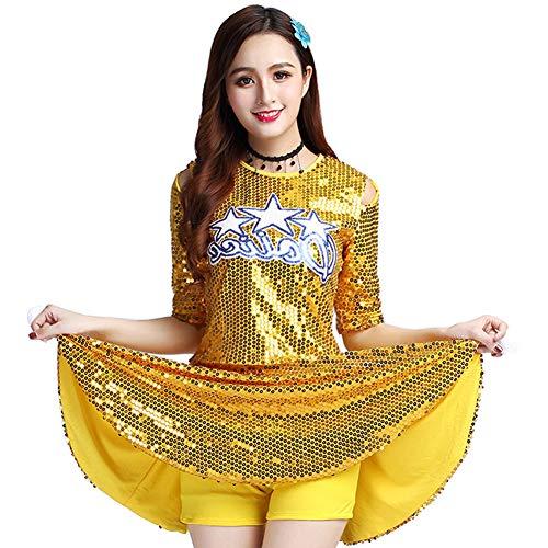 Daytwork Cheerleading Moderne Tanz Kostüm Damen - Mädchen Glänzend Pailletten Bekleidung Tanzkleid Tops Minirock Set High School Schule Uniform Outfit Halloween Karneval Jazz Party Sport