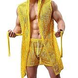 KPILP Herrenmode Atmungsaktives Mesh-Oberteil & Slip Unterhemd Unterhosen-Set Bademantel Handsome Morgenmantel(Yellow,EU-38/CN-L)