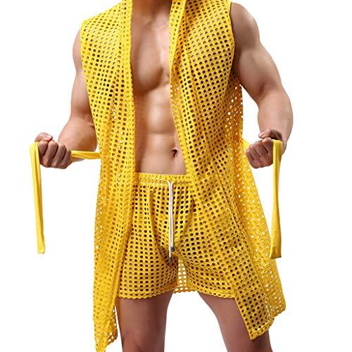 BaZhaHei Peignoir Sexy Hommes Kimono en Mesh Respirant Ajourée Mode Fun et Boxers Ensembles(M,Jaune)