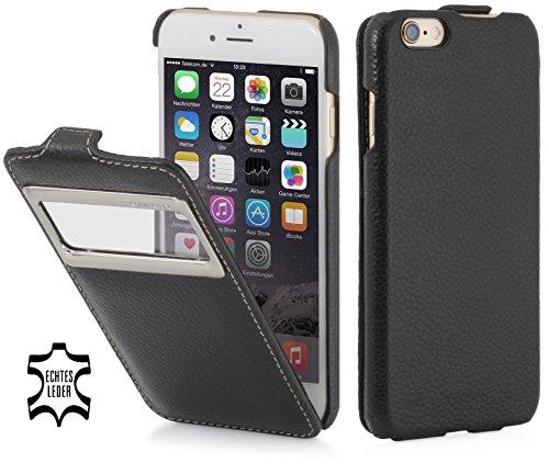 StilGut Lederhülle kompatibel mit iPhone 6s vertikales Flip-Case mit Sichtfenster, Schwarz - 6 Iphone Vertikal Case Leder