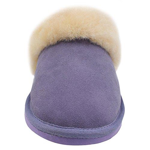 Oasap Women's Fashion Winter Warm Fur Flat Suede Wool Slippers Purple-3