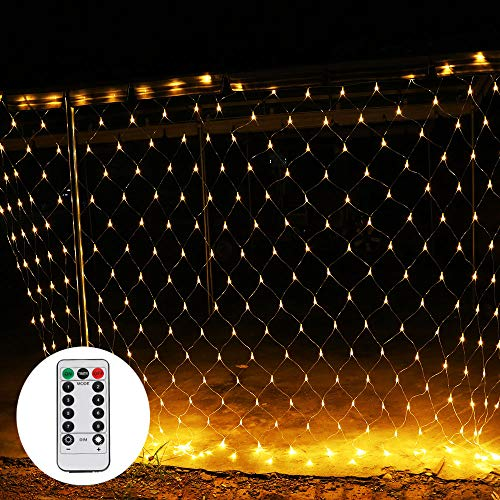 LED Lichternetz 3 x 2 m mit Fernbedienung 8 Modis Netz Lichterkette 192LEDs Warmweiß für Weihnachten, Hochzeit, Party, Innen und Außen