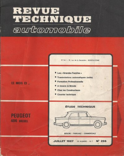 Download Revue Technique Automobile N 255 Peugeot 404
