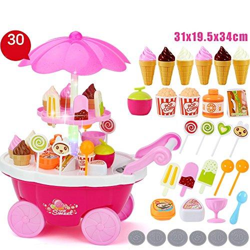 6 Stück Spa Satz (FEI Babyspielzeug Baby Rollenspiel Spielzeug 30 STÜCKE Eis & Süßigkeiten Musical Cart Pretend Food Play Set Geschenk für Kinder (gelb) Frühe Erziehung ( Farbe : Pink ))