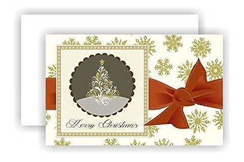 6Stück Weihnachten New Years Grußkarten 2Designs Ihre persönliche Nachricht Innenseite