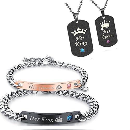 """Schmuckset ein Paar Damen Herren Pärchen King Queen Armbänder Anhänger mit Halskette , Edelstahl Dog Tag Anhänger mit Gravur """"His Queen"""" und """"Her King"""" schwarz rosegold silber"""