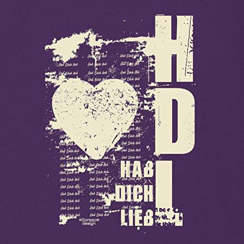 Geschenk zum Valentinstag für Ihn T-Shirt Hab Dich lieb Geschenkidee Geburtstag Valentinstagsgeschenk Liebe Herren Männer Farbe: lila Lila