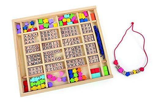Small Foot - 10175 - Perles à Enfiler dans Leur Coffret Alphabet