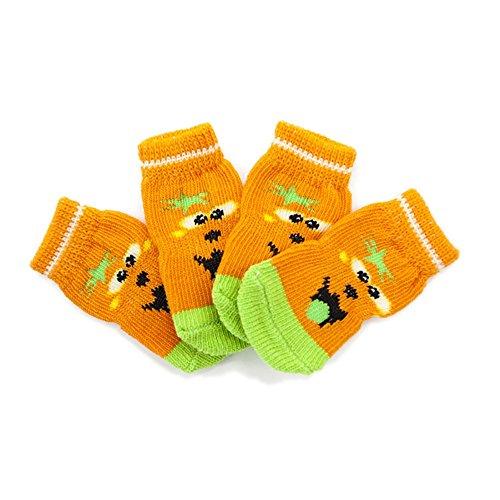 Hund Socke, rutschfeste tragen Fuß Orange Cartoon Kürbis Haustier Hund Baumwolle Schuhe Anti-Dirty Sock Herbst Winter warme Socken 8PCS Fuß Socken Set 4Size (Color : Orange, Size : S)