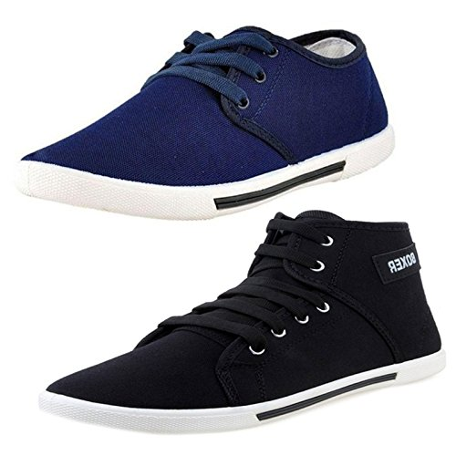 Aircum 299-200-599-399-400-500-600-699 COMBO Pack of 2 Pair of Shoes Blue & Black (Casual Shoes)  available at amazon for Rs.799