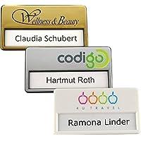 25 tarjetas carteles para nombres de plástico con imán, impresión de logo individual, impresión en color con su logotipo, fijación magnética, tarjetas de identificación, etiqueta de nombre para la ropa, se puede escribir en ellas, con su logotipo, etiquetas de nombre con imán - 64 x 16 mm, oro