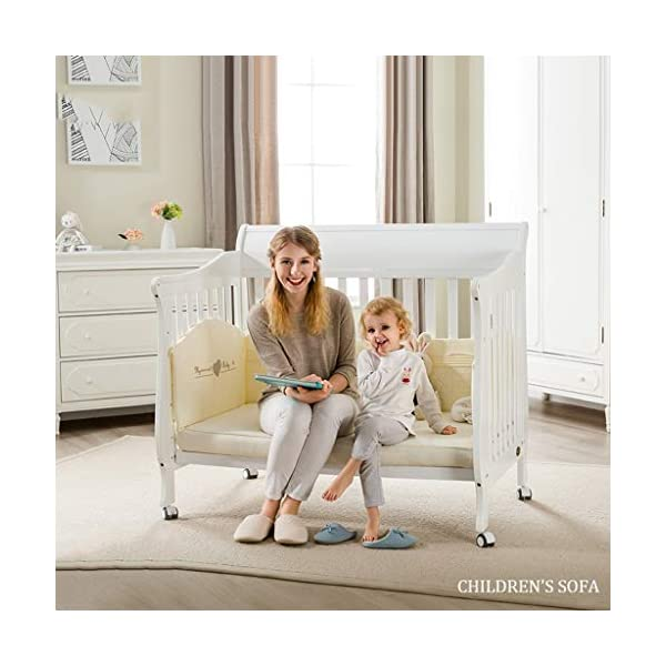 DUWEN-Cot bed Solid Wood Multifunction Baby Cot European Style Cot Bed Toddler Bed Splicing Bed With Wheel (color : White) DUWEN-Cot bed 1. This multifunctional crib is made of environmentally-friendly pine wood. It is tough and durable, not easy to crack. It has a load-bearing capacity of more than 120KG. It is green and non-toxic paint. It is healthy and environmentally friendly. It is harmless to the baby. Mother can buy with confidence. 2. The three pedestal positions of the crib are suitable for the baby's growth stage, improving visibility and ventilation in all directions, selecting the gear according to the baby's body and age, making the space bigger and more comfortable to use. 3. Multi-functional crib can be easily converted into a game bed, children's sofa, designed for healthy sleep of 0-6 years old baby (additional function can be used up to 6 years old), 55mm safety standard guardrail spacing, children's hands and feet will not be stuck 5