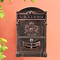 zenggp European Classical Villa Mailbox Pastoral Retro Letter Box With Lock Baroque,RedBronze+SunGod