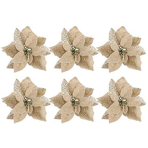 6pcs realistico fiori artificiali decorazione ornamenti per home house mall mall ghirlande di alberi di natale in rattan oro
